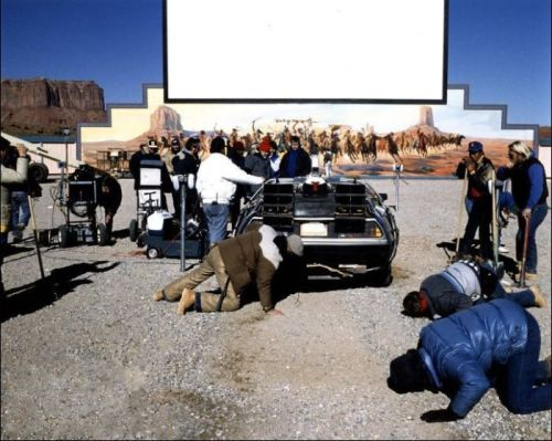 The drive-in theater was constructed specifically for this film. It was built in Monument Valley, and demolished immediately after filming. No films were ever screened there. Back to the Future Part lll (1990)