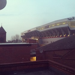 View from our new hostel- West Ham United Football Club #greenstreethooligans #westham #london @laurenmoultonlava (at Globe Trott Inns)