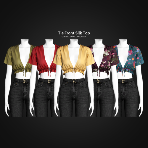 gorillax3-cc:Tie Front Silk Top is released publicly!TopNew MeshAll LOD'sShadow MapNormal MapSpecular Map30 SwatchesHQ CompatibleDon't Re-upload[Download] - Patreon Public Access[Patreon][Paypal]Terms Of Use #s4cc#ts4cc#top#gorillax3-cc