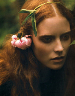 """Cecile Sinclair in Lula Magazine, shot by Nicole Nodland The redheaded fair maiden is delicate, pale and mysterious. Think Pre-Raphaelite beauties with blushing cheeks and wide eyes. Repunzel braids, twists and chignons interwoven with wildflowers or ribbons are perfectly suited to this look. Try pairing it with some of the most striking 2010 fashion trends to give it a modern edge."""