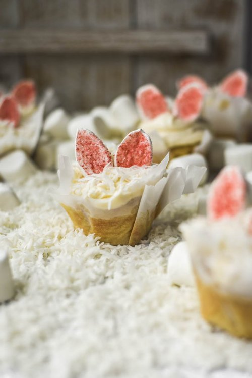 Coconut Vanilla Fluffy Bunny Ears Cupcakes coconut vanilla bunny easter spring cupcake cupcakes food