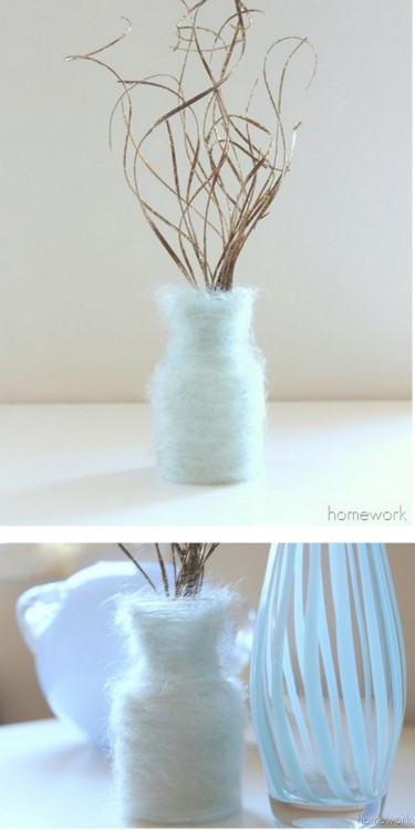 DIY Easy Mohair Wrapped Vase Tutorial from Carolyn's Homework here. I don't post many DIY vases because I'm not fond of most of them. But I really like the softness and texture of this one.