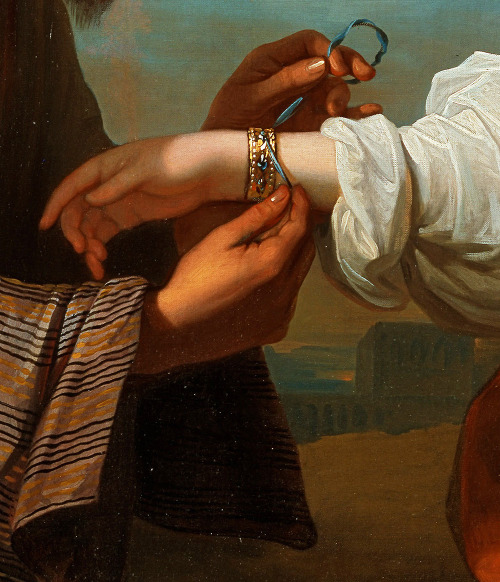 jaded-mandarin:  Isaac's Servant tying the Bracelet on Rebecca's Arm - Benjamin West. Detail.