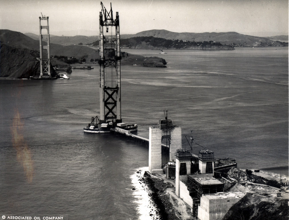 archimaps:  The Golden Gate Bridge under construction, San Francisco