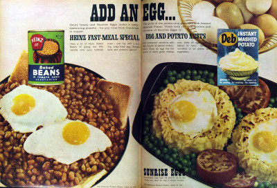 vivatvintage:  Add an egg. 1964.  The egg isn't an improvement.