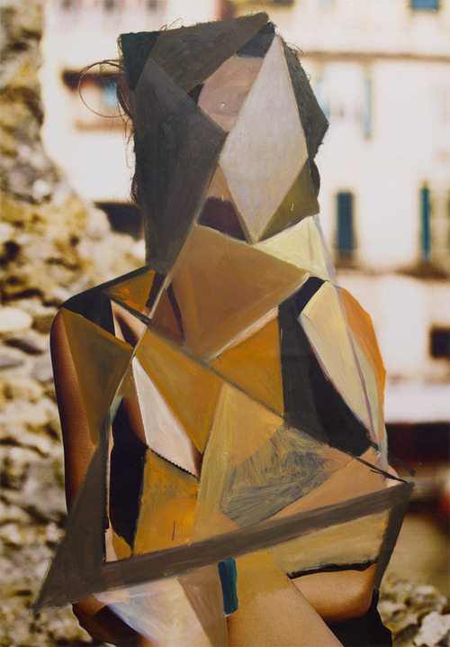 theincompletenesstheorem:  Loriel Beltran, Unknown Model, 2012. Oil on found poster mounted onto wood panel
