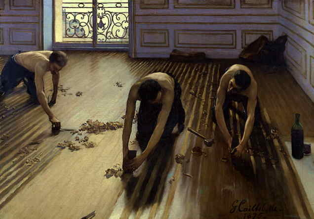 """The Floor-Scrapers""Gustave Caillebotte This piece demonstrates the gestalt principle of continuance. There are three figures, the middle of which is the most forward with the two remaining figures tilted towards him either with his whole body as seen on the left or which just his face as seen on the right. Furthermore, their arm-motions as they scrape the floor move outward toward us as viewers. Again, the emphasis is forward. This emphasis is made more prominent by the perspective lines as well. The principle of continuance aids in the concept of these workers scraping the floor for what may seem like a never-ending time period. We can see in the image that they have yet a lot more work to do and we as viewers are engaged with the painting as we imagine them continuing this mundane chore for many more hours.  I also considered the similiary principle in color of the floor-scrapers and the floor itself, though this is secondary to the idea of continuity and the work that they are doing. Regarding similarity, Caillebotte may desire to show the idea that these men have done this work so long, they are less human and more like the floor they work upon. Nonetheless, he paints them with magnificent musculature and glorifies their form in the diffused light from the window showing appreciation for a very common and lowly occupation during this time."