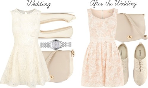 Wedding/After by ieleanorcalderstyle featuring gucci watchesDorothy Perkins sweetheart neckline dress, $61 / Bustier dress, $33 / Topshop ballet flat / H&M lacey shoes, $20 / H&M h m, $23 / Gucci  watch