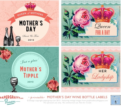 diychristmascrafts:  DIY Free Printable Mothers Day Labels from The Graphics Fairy here. I like these and think they are pretty and funny at the same time.  truebluemeandyou: You know what I think mothers really want on Mother's Day? Good kids, good food, handmade cards and a chance to sleep in - and not necessarily in that order. And maybe a plant or flowers.