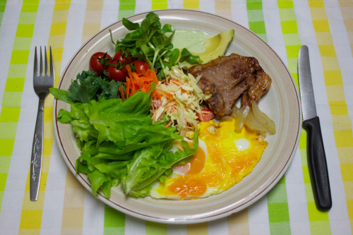 Lamb chop, egg & salad