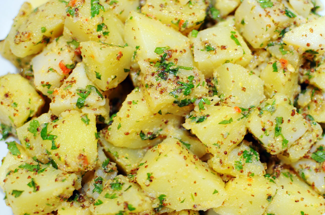potato salad, whole grain mustard and coriander