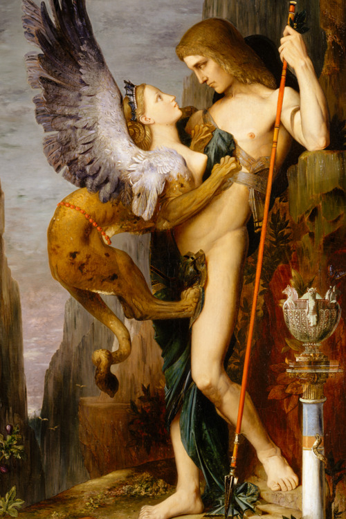 c0ssette:  MOREAU, Gustave Oedipus and the Sphinx 1864. Moreau's interpretation of the Greek myth draws heavily on Ingres' Oedipus and the Sphinx of 1808 (Musée du Louvre, Paris), which was exhibited in Paris in 1846 and 1855. Both painters chose to represent the moment when Oepidus confronted the winged monster in a rocky pass outside the city of Thebes. Unlike her other victims, he could answer her riddle and thus saved himself and the besieged Thebans. The painting was a success at the Salon of 1864; it won a medal and established Moreau's reputation. Moreau made more than thirty studies for this work and many repetitions after it.