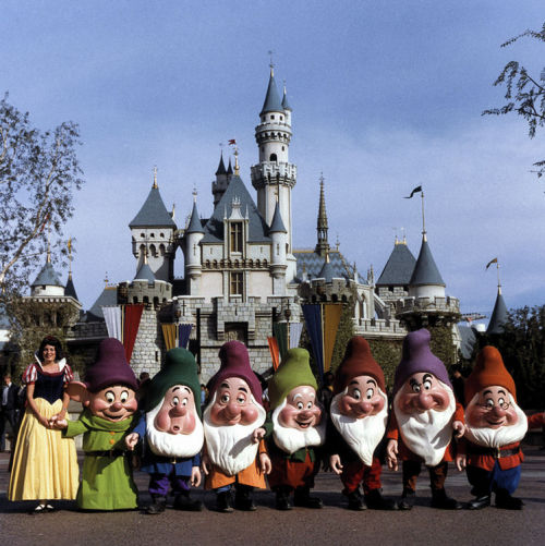 yourland:  Snow White and the Seven Dwarfs in front of Sleeping Beauty Castle, 1970