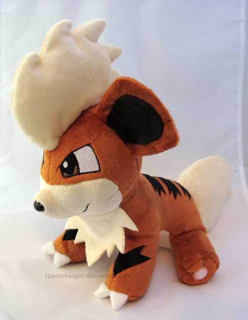 Growlithe! Made from minky fabric with machine embroidered eyes.