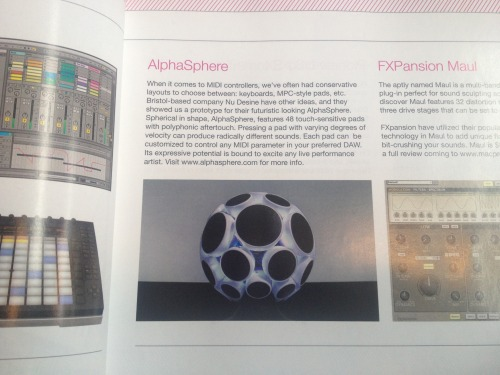 AlphaSphere in MPVHub Audio Magazine, January 2013.