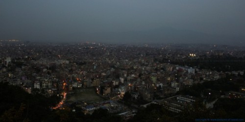 (via Kathmandu valley evening shot from Swayambhunath temple)
