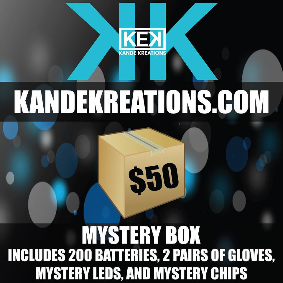 Go grab yourself a mystery box from KandeKreations.com today!!! Here are some codes for you to use: mcjuju=10% offjump=free pair of white gloveskekjump= 10 free batts
