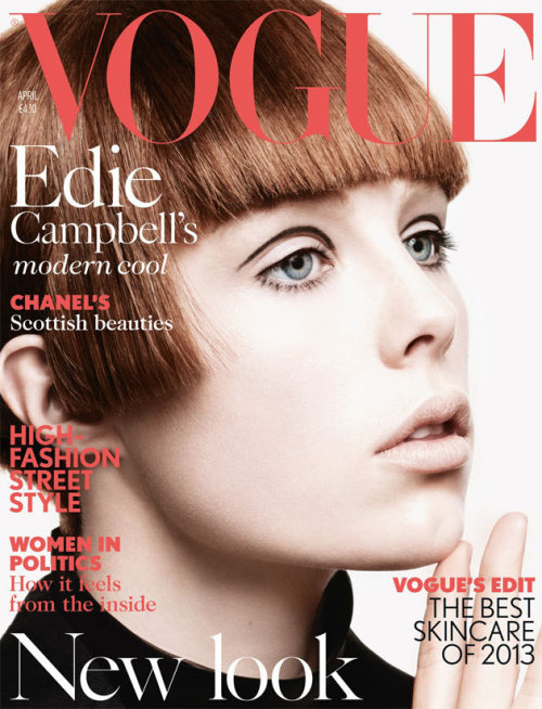 Edie Campbell on the cover of Vogue, April 2013