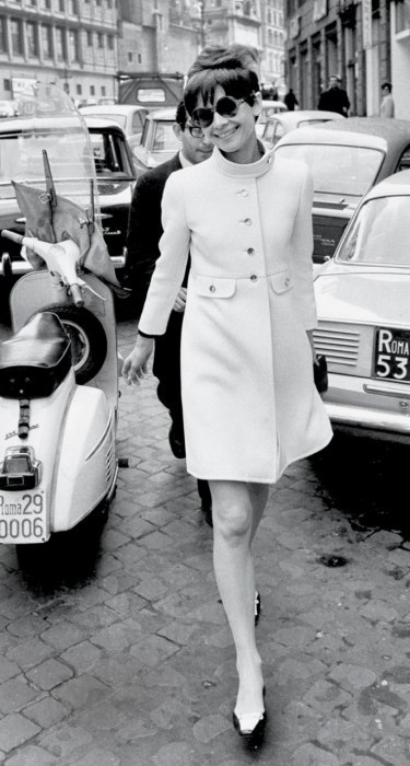 "runwaybrandon:  ""Audrey Hepburn in Vanity Fair 2013""  Handbag: Gucci Coat: Rose Bertin Shoes: Ren'e Mancini for Chanel Sunglasses: Oliver Goldsmith"