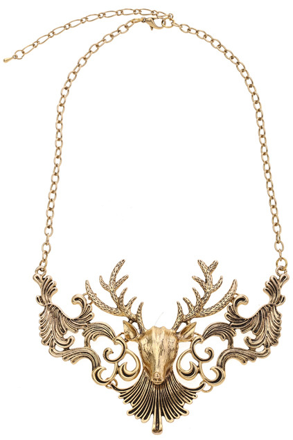 (via ROMWE | Deer Head Golden Necklace, The Latest Street Fashion)