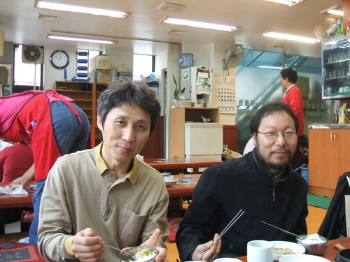 Song Ju han (Board Chair) and Rev Kim at a restaurant in Seoul