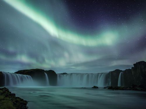 Waterfall, Iceland photo credit: Hordur Finnbogason This is an image I have had on my mind to get for three years. To align the waterfall and northern lights that are strong enough to light up the whole surroundings. At last it happened and I was at the right place at the right time. Godafoss means Waterfall of the Gods and takes its name from the old Nordic sagas. (via National Geographic Photo of the Day)