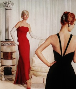 theniftyfifties:  Models in evening wear, 1950s.