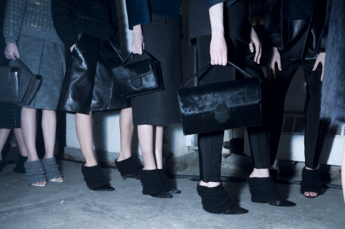 theresejoel:  Alexander Wang, Feb. 9 — Models line up before hitting the runway. Therese + Joel for TIME
