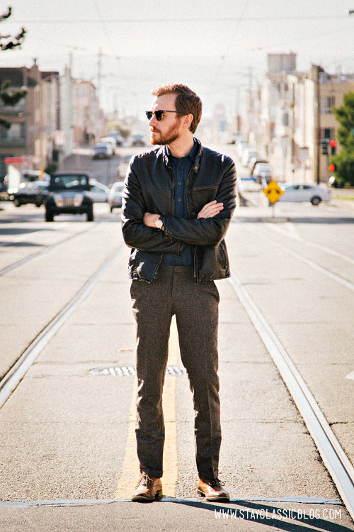 Meanwhile, back in San Francisco… Jacket: Levis faux leather - $54 (Urban Outfitters) (similar)Shirt: Frank & Oak - $35Pants: Topman - $72Shoes: Banana Republic Hyde Oxford - $90 (40% off coupon)Sunglasses - Ray Ban Clubmaster in Tortoise - $89Watch: Timex Easy Reader - Target - $29