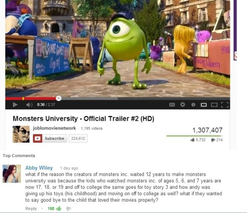 "thedisneydork:  gloomykid:   omfg i'm going to cry because of that comment. ""what if the reason the creators of monsters inc. waited 12 years to make monsters university was because the kids who watched monsters inc. of ages 5, 6, and 7 years are now 17, 18, or 19 and off to college the same goes for toy story 3 and how andy was giving up his toys (his childhood) and moving on off to college as well? what if they wanted to say good bye to the child that loved their movies properly?""   STOP. JUST STOP IT."