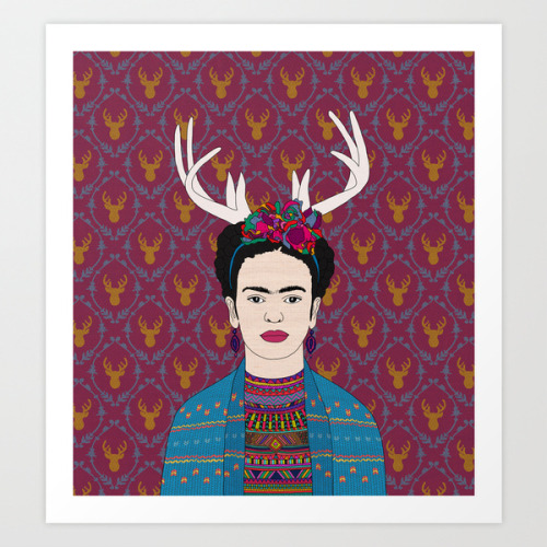 "bianca-green:  ""DEER FRIDA"" art print by Bianca Green available here: http://society6.com/beegreen/DEER-FRIDA_Print"