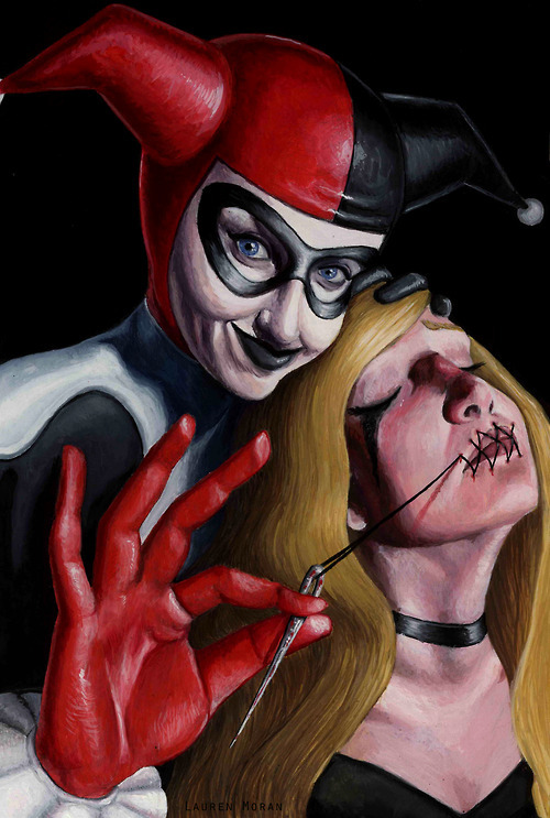 "laurenmoran:  Harley Quinn and Black Canary, gouache the finish from my mentor assignment given to me by Erik Jones. The assignment was to create a comic book cover with my two favorite DC characters, Harley Quinn and Black Canary. This is what I've spent all my free time on in the past week. I'm pretty happy with it.  DumbAngelSessions:  ""Look, Mr. J! Even with her mouth shut, I can make a Canary Cry!""   Gotta say, this is the most disturbingly hypnotic piece of artwork I've seen in a long time. All the more so because I am a HUGE Black Canary fan. Most specifically silver/bronze age Black Canary. You know, the Black Canary that was constantly getting captured, tied up or placed into some sort death trap scenario. (What can I say? It's my kink.) So when I found this piece of artwork, I was very intrigued. Quite disturbed but very intrigued none the less."