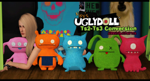 simmingwithsirens: >:). Hello friends. I converted Nixy's supertastic Uglydolls from Sims 2, into the Sims 3, just for youuu. ♥ They come with the original recolors, and are 10 simoleons each. Enjoy. ( ͡° ͜ʖ ͡°) All credits to Nixy.  ✗ Download: Merged| Unmerged[.sims3pack & .package included in Unmerged .rar]  Please don't re-upload/redistribute. Contact me if you have any questions.