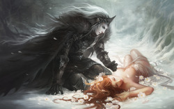 ola-magics:  hades and persephone 2 by sandara I'm in love with this artwork