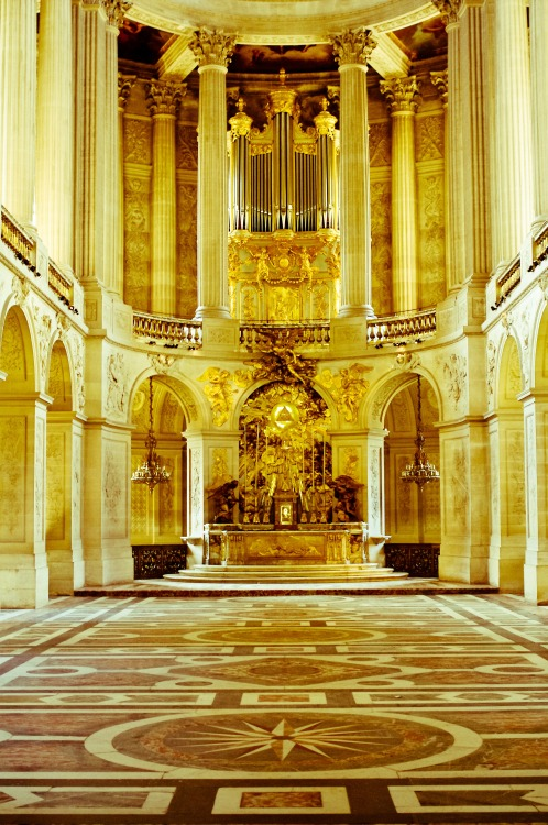 Royal Chapel of the Chateau de Versailles, bathed in golden light