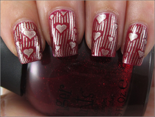 Finger Paints Romanticism Ruby stamped with China Glaze Passion and DRK-A View Post