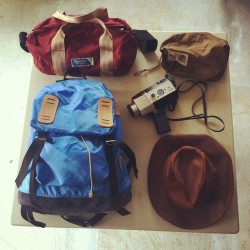 Outdoor Products Duffle, Brown Label TNF pouch, Junya Watanabe x Head Porter bag, Yashica Super 8, Chippewa Hat. 11 day road trip starts now! #gonepickin