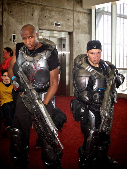 "cosplayingwhileblack:  X Characters: Augustus  & Marcus Series: Gears of War  LOVED these guys. Cole was so in character when I was talking to them, haha. You could tell he was around cause you'd hear ""Its the Colr train, baby! Wooo!!"" XD"