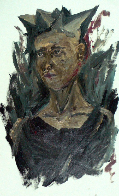 crown self portrait oil on linen structure paper