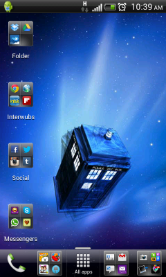 My phone's new wallper: The TARDIS.   Of course.