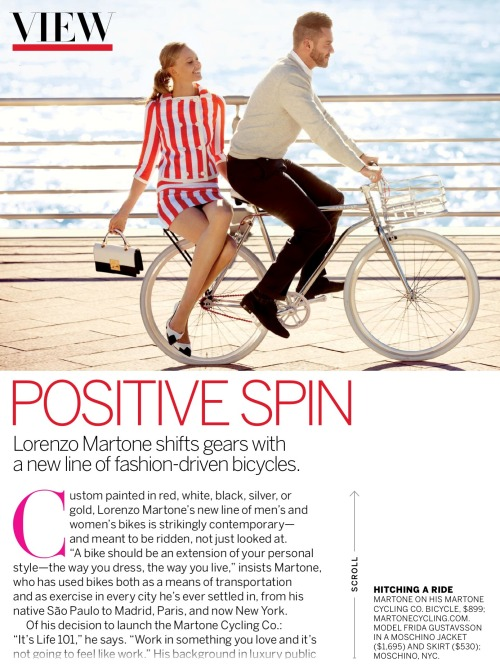 Positive Spin; Lorenzo Martone & Frida Gustavsson for Vogue US, April 2013