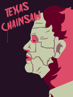"The folks at AMP (Alternative Movie Posters) are having a Texas Chainsaw poster design contest. Pictured above is my 3rd entry. ""Texas"" by Derek Eads"