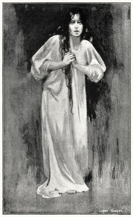 She was mad.  Amy Sawyer (1863-1945), from Heart of the world, by Henry Rider Haggard, London, 1896.  (Source: archive.org)