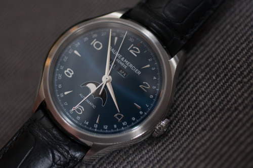 hodinkee:  We spent a week with the Baume & Mercier Clifton 10057 Complete Calendar. Check out our thoughts here.  Nice Moonphase but I prefer my Longines Master Collection. -TFR