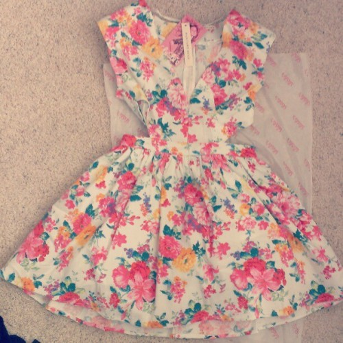 Oh my gosh. New favorite dress! #lulus haul and fashion lookbook coming ! I've gotten lots of messages, and I bought this dress last week, it's called the Brat Pack Floral Dress, and it's no longer available I don't think because I can't find it anymore. It was at this link: http://www.lulus.com/products/brat-pack-cutout-floral-print-dress/76534.html  I had to get it in a size Medium because the Small ran out :(