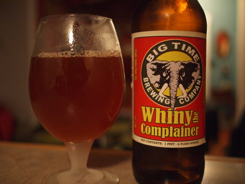 Big Time Brewing: Whiny the Complainera 100000% jab at RR's pliny the younger. each year i've had this, its tasted different. this year, its was nearly 14% and was more like a punch in the face than a barely wine (good thing) one of my fav things big time does (and im pretty sure that they think so too for just the joke alone)