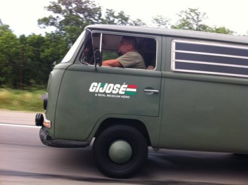 "collegehumor:  G.I. Jose This bad boy gets 12 ""kilómetros"" per ""galón""."
