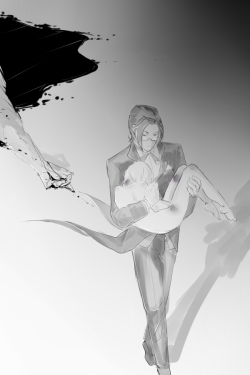 thespiderdevil:  I've always liked to imagine this moment, when Alois calls Claude for the first time, just molested by the former Earl. And the first thing which Claude does is to get rid of him, before dressing the mask of the butler. Dedicated to my dear Sarah/spiderwebofsecrecy <3