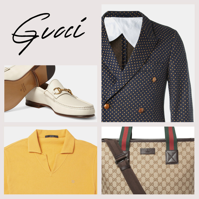 Gucci.  Glossy luxury with a rock n' roll twist.