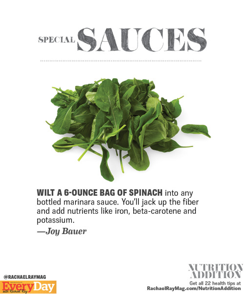 Tip 14: Upgrade your sauce by sneaking spinach into it! Click here for 21 other healthy cooking ideas!